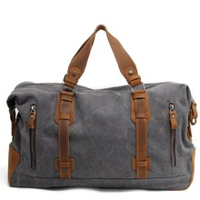 2016 New Oversized Canvas Leather Trim Travel Tote Duffel Bags shoulder handbag Weekend Bag Vintage Military Army Green Men Bags(China (Mainland))