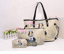 3pc set 2015 Brand Women Handbag Messenger Bag Purse Fashion fashion Women Messenger Bags PU Leather