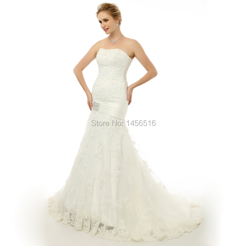 Buy real photo long train sexy mermaid for Mermaid wedding dress with long train
