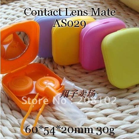 Free Shipping/Solid Colored Contact Lens Cases/Candy Contact Container