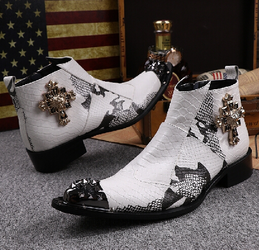 New Fashion White Ankle Boots For Men Snakeskin Pattern Men Dress Shoes Iron Spiked Toe Men Boots Fashion Zapatos Hombre EURO 46(China (Mainland))