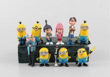 Free Shipping Anime Cartoon Despicable Me 2 Figures 3D Eye Minions PVC Action Figure Toys Dolls 10pcs/set Brinquedos