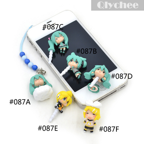 2015 New Design Vocaloid Hatsune Lovely Miku Cell Phone Dust Plug(China (Mainland))