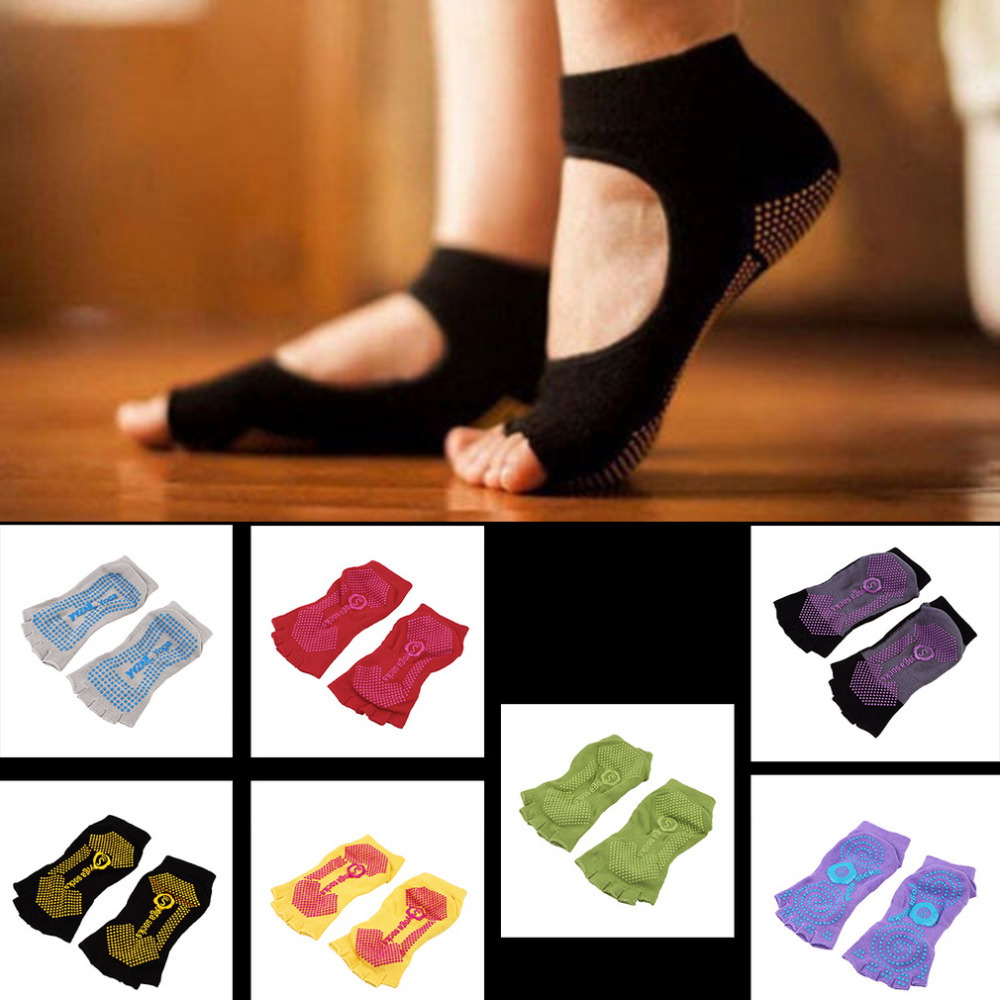 1Pair Comfort Durable Yoga Pilates Socks Half Toe Ankle Grip Five Finger No-Slip Hot Selling(China (Mainland))