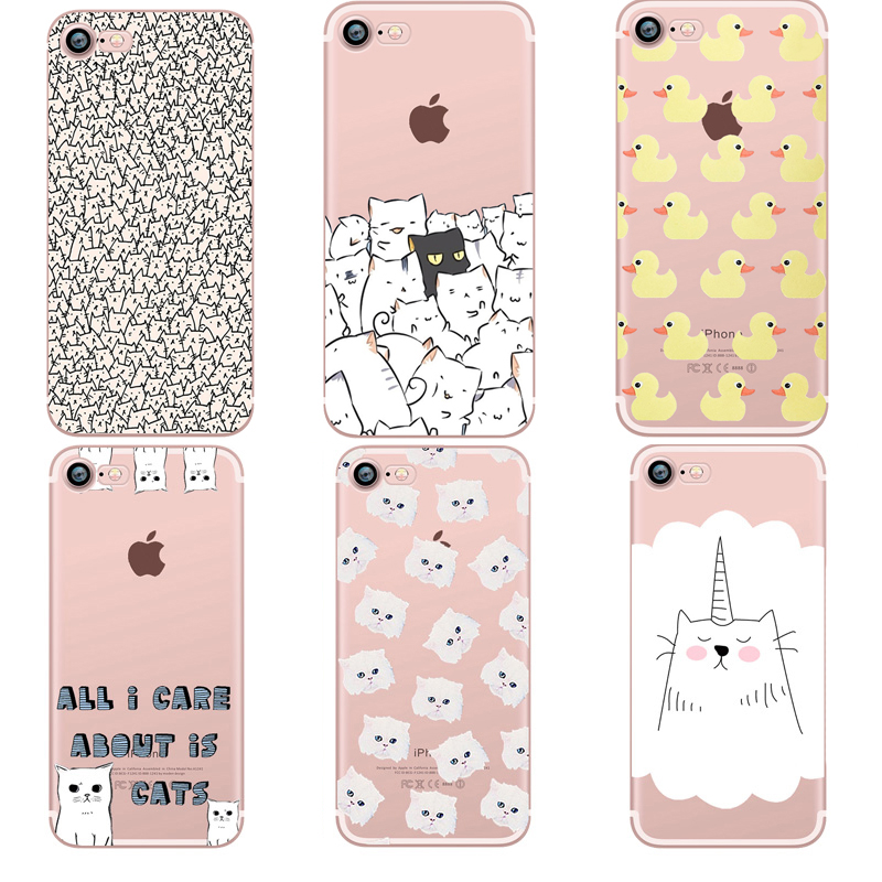 phone cases Animals cats and dogs duck Clear soft silicon TPU fundas coque case cover For Apple iphone 7 7plus 5S SE 6 6S 6plus(China (Mainland))