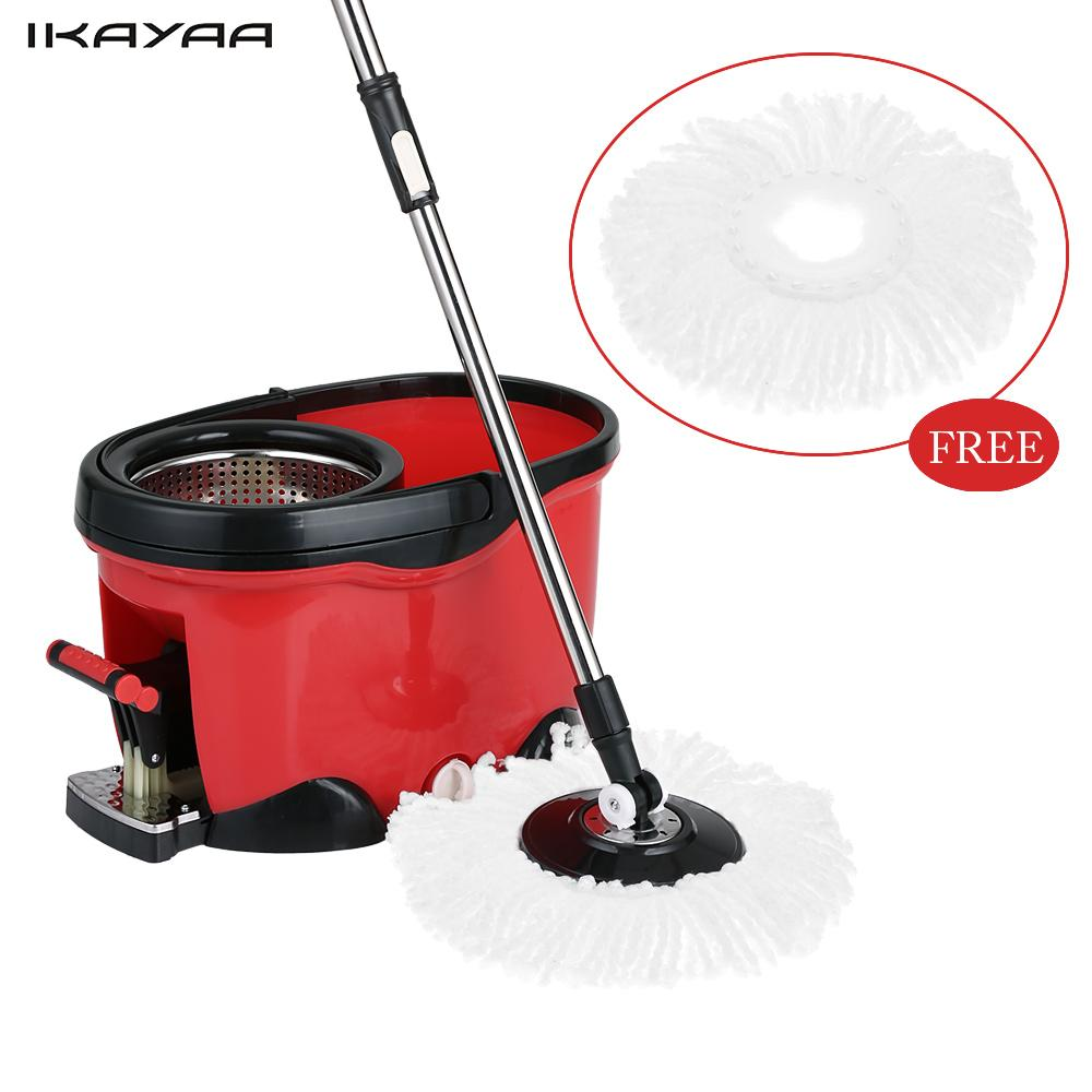IKAYAA Magic Floor Spin Mop with 2 Microfiber Mop Heads Hands-free 360 Rolling Spin Mop Bucket Set Foot Pedal Rotating Floor Mop(China (Mainland))