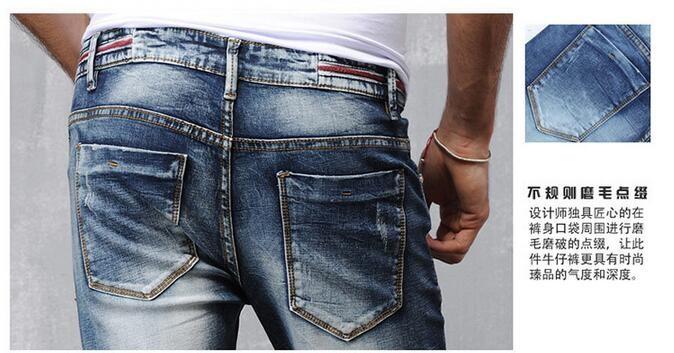 Скидки на 2016 Запад Мода Винтажном стиле Высокого Качества для мужчин Джинсы Середине талия Полная Длина Pure Color Тонкий Ковбой Джинсовой Man Брюки Y1