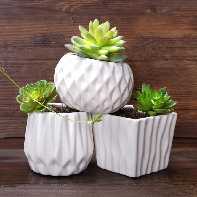 1 piece (8.5x8.5x8cm please look at the size, very cute little more meat pots ) Succulents pots small pots minimalist white(China (Mainland))
