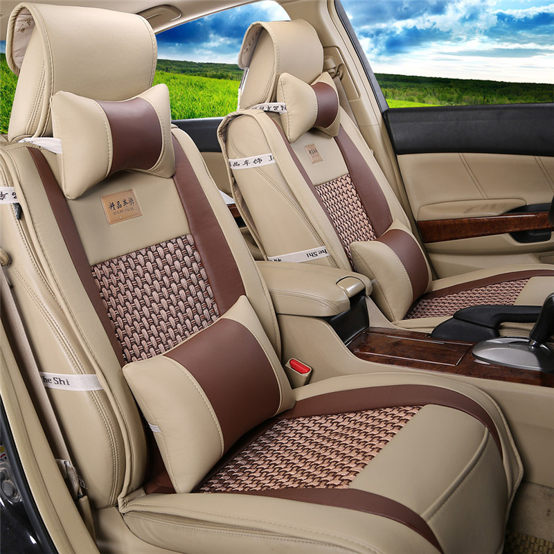 new arrival pu leather silk car cover universal auto car seat cover interior accessories luxury. Black Bedroom Furniture Sets. Home Design Ideas