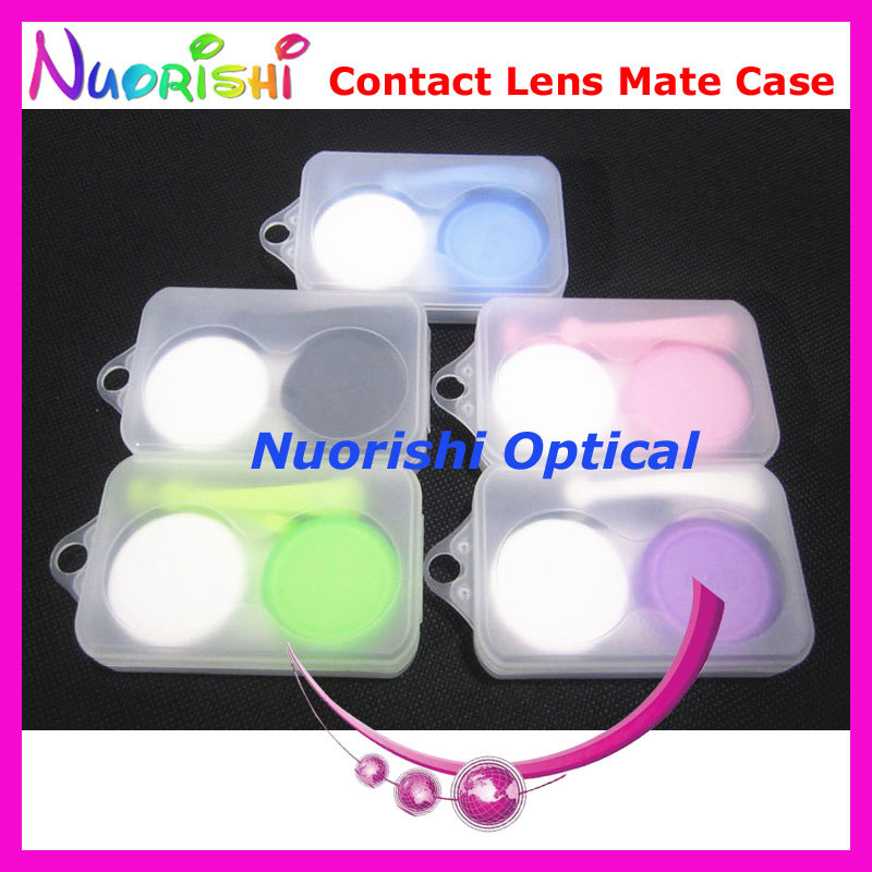10pcs Very Nice Simple Contact Lens Mate Case with Silicone Tweezer and Suction Stick Packed By Frosted Case C541 Free Shipping(China (Mainland))