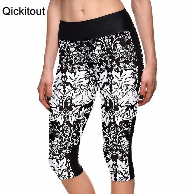 2015 женщин 7 точка брюки мода белые цветы черный виноград элегантность цифровой ...
