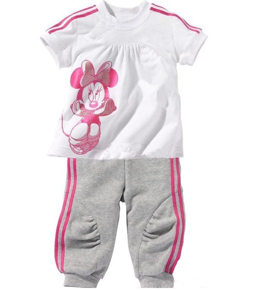 2013 Summer new children 2pc sets Minnie Mouse sports suit, kids cotton leisure clothing set 80-120 free shipping