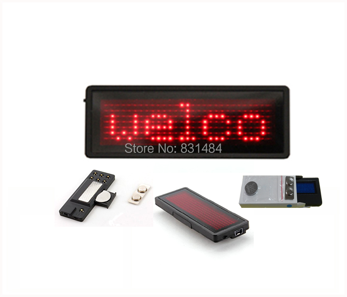 Red LED name badge sign Scrolling advertising/business card show display tag/program When buy 10pcs free 1 set software as gift(China (Mainland))