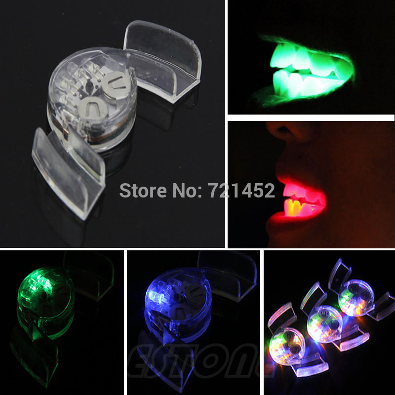 J35 HQ Mouthpieces LED Mouth Guard Flashing Light Up Teeth Party Favors Glow Tooth(China (Mainland))