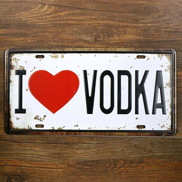 Vintage Metal Car Signs : Quot i love vodka metal vintage tin signs selges av easy