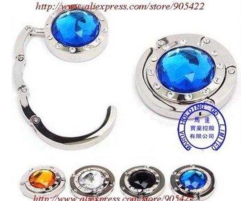 5pcs/lot Random color with Crystal Folding Bag Purse Hook Crystal Handbag Hanger JY048