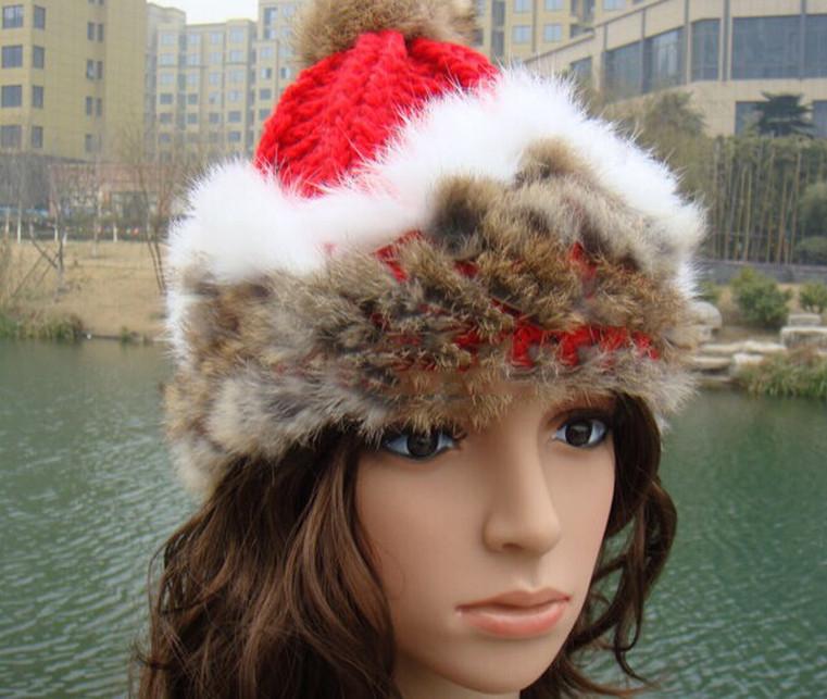 Классический красивый плотный вязаный меховой шляпе женщин Кап зимние шапочки головной убор головной убор головы теплее высшего качества