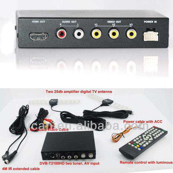 2013 newest, Smaller, Smarter dvb t car mpeg4 H.264 2 tuner PVR USB Record(China (Mainland))
