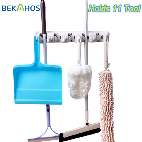 Best Broom Organizer Holds 11 Tools Rack Holds Mops, Brooms, or Sports Equipment Magic Mop & Broom Holder/Organizer(China (Mainland))
