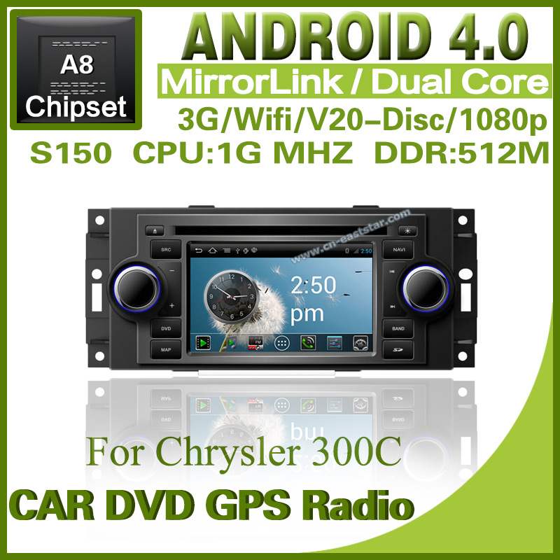 Pure Android 4.0 car dvd player for Chrysler 300C Dodge with steering wheel controlGPS radio Bluetooth TV Free shipping 1234S(China (Mainland))