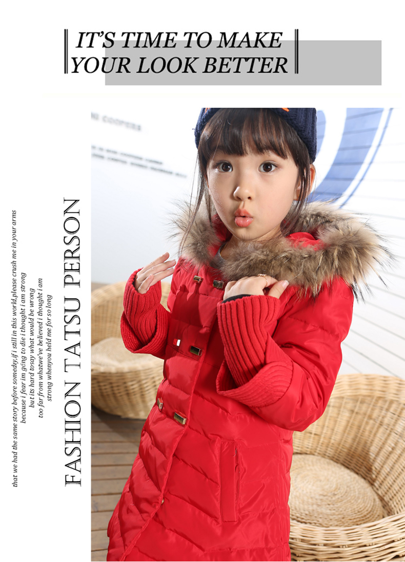 Apparel New arrival 2015 children's clothing children's down jacket and long sections baby girls thick winter Slim Down 5 colors(China (Mainland))