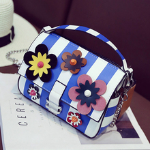 New Arrival fashion ladies handbag striped flowers color stitching mini chain shoulder bag messenger bag casual totes flap purse
