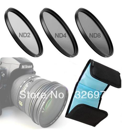 Brand new!Camera 72mm Neutral Density ND2 ND4 ND8 Lens filter kits set Free ship(China (Mainland))