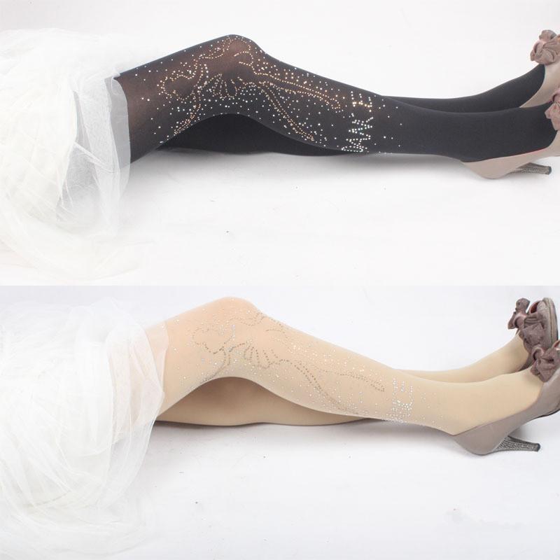 1 Pair Hot New Cheap Sale Women Fashion Sexy Crystal Tights Panty hose Wholesale Pantyhose Rhinestone Collant(China (Mainland))