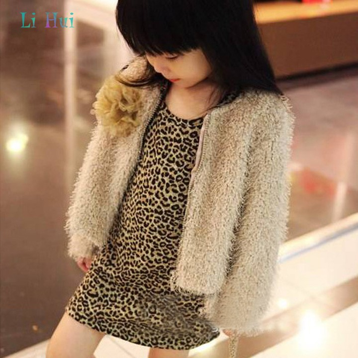 Fashion Style Hot Sale Spring Autumn children kids Faux Fur coat Casual floral jackets coats for girls 38(China (Mainland))