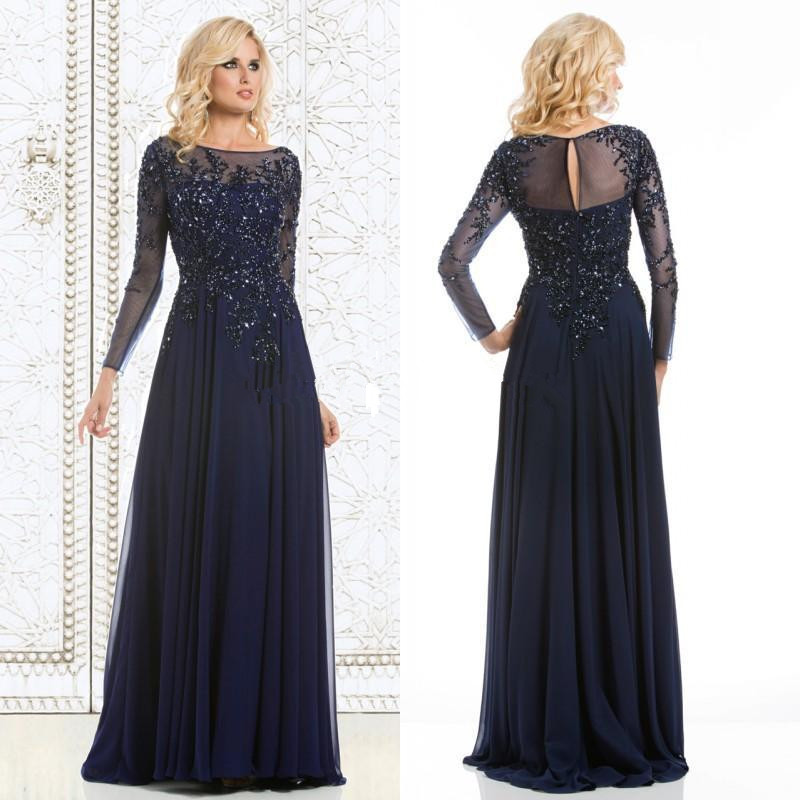 New Arrival Formal Dresses Evening Long 2016 Navy Blue Lace Crystals Mother Of The Bride Dress Long Sleeve Party Evening Gowns(China (Mainland))