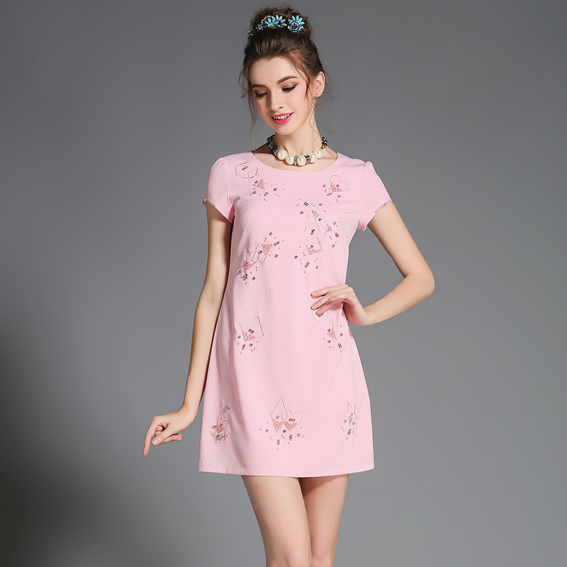 Women's Plus Size Embellished Short Sleeve Shift Dress Pink l,xl,2xl,3xl,4xl,5xl(China (Mainland))