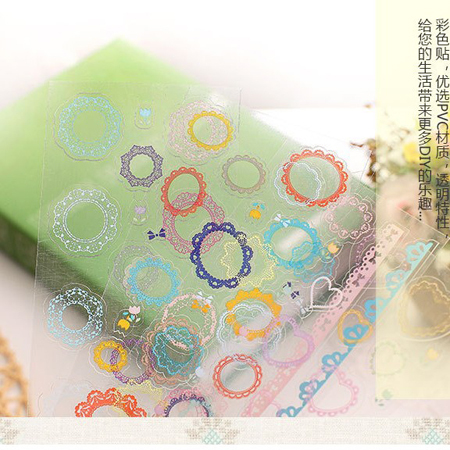 Flower Lace PVC Sticker Colorful Edge Rainbow Round Deco Seal Label(China (Mainland))