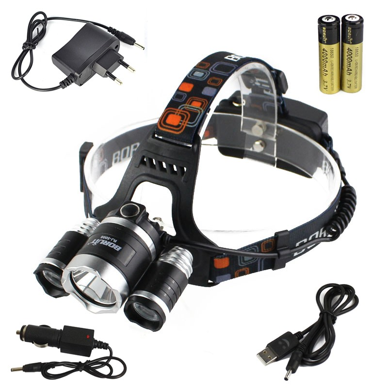 BORUIT 8000Lm 3*XM-L2 LED Headlamp HeadLight Head Torch USB Lamp+2*18650+Charger<br><br>Aliexpress