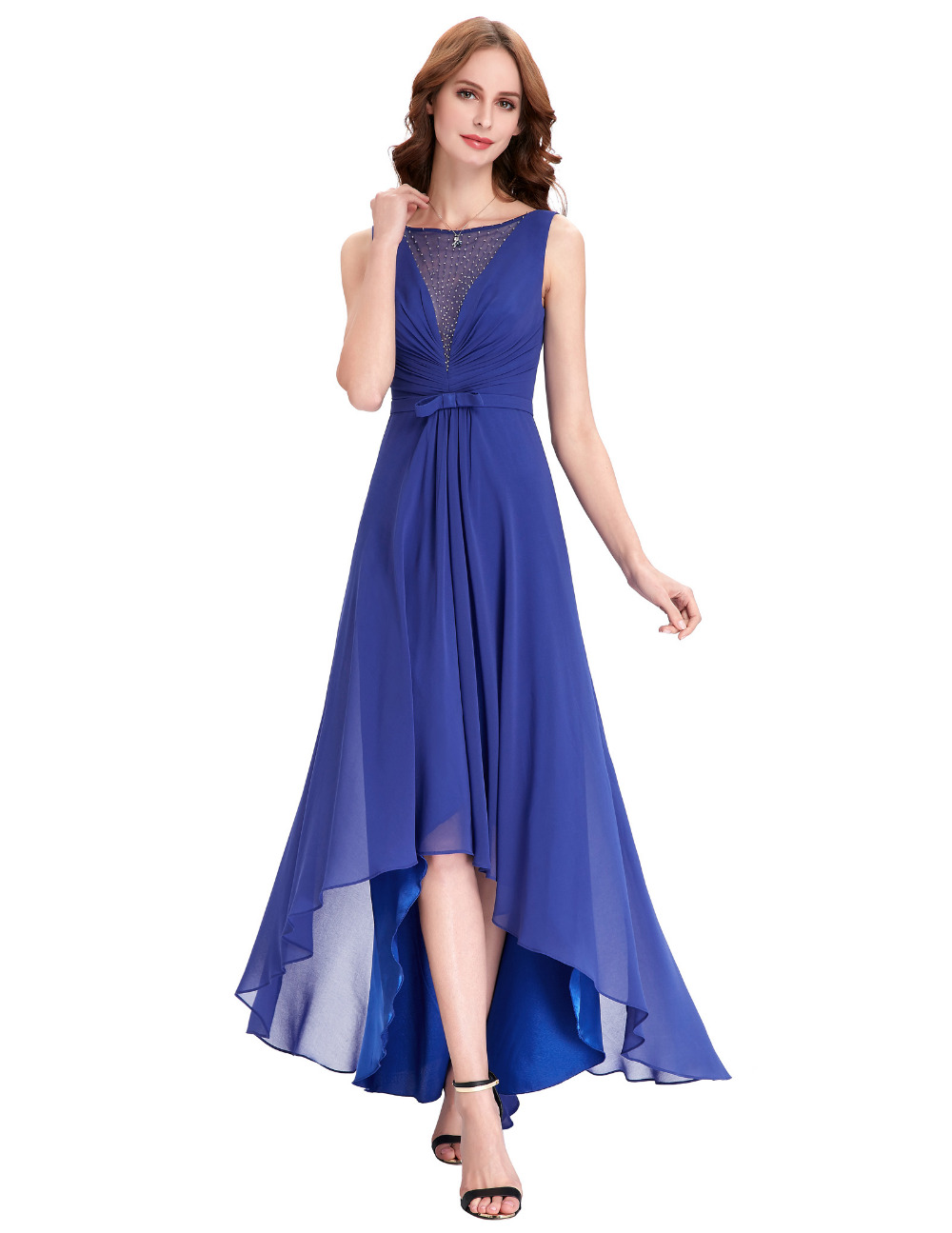 Low Back Wedding Guest Dresses : Buy high low bridesmaid dresses royal blue wedding guest dress