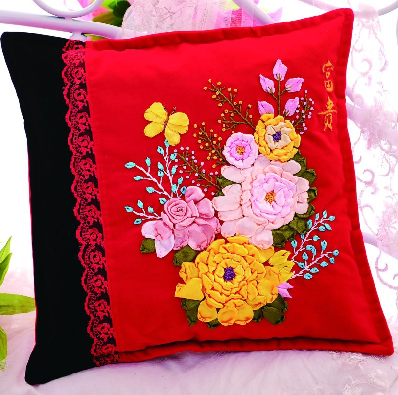 Cm diy ribbon embroidery pillow cushion handcraft