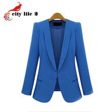 Black Friday Plus Size 4XL Fashion Street Jackets Women 2016 Spring Slim Casaco Blazer Casual Coats Candy Color Blazer Feminino(China (Mainland))