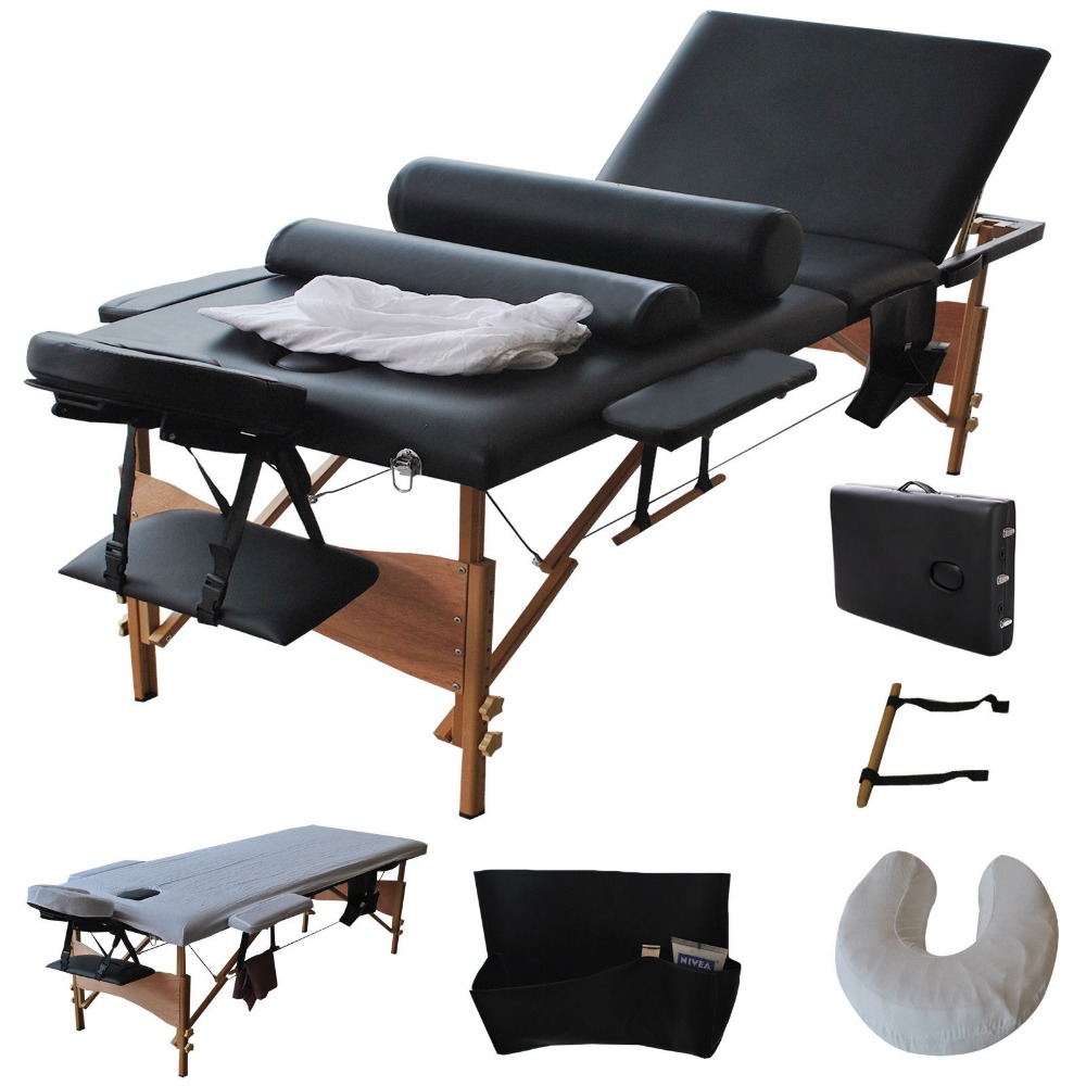 "3 Fold 84""L Portable Massage Table Facial Bed W/2 Bolster+Sheet+Cradle Cover Free Shipping HB79185BK(China (Mainland))"