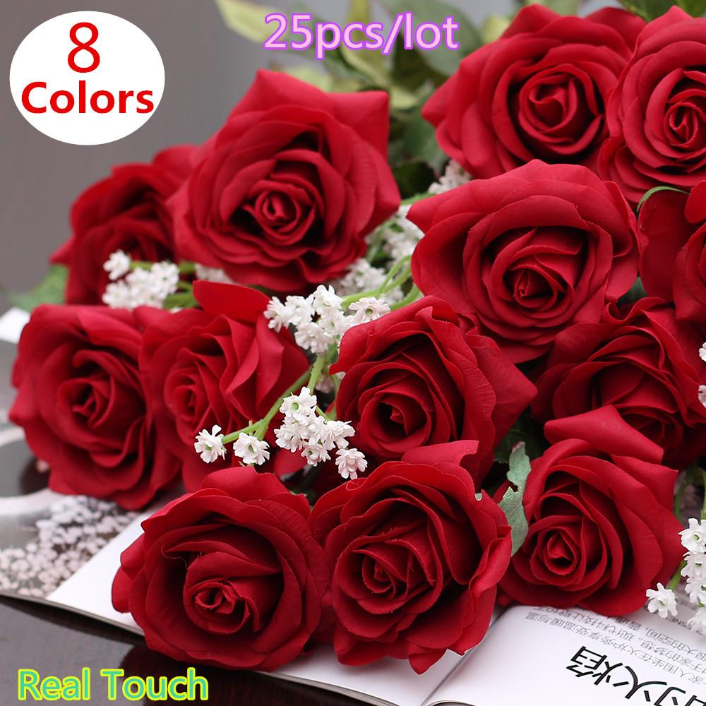 Buy 25pcs lot real touch rose pu for Angela florist decoration