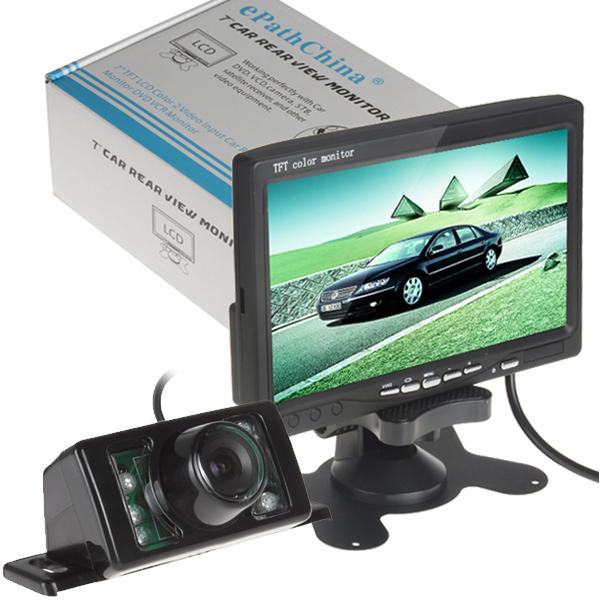 hot 7 Inch TFT LCD Color Display Screen Car Rear View DVD VCR Monitor + 7 IR LED Lights Night Vision Rearview Reversing Camera(China (Mainland))