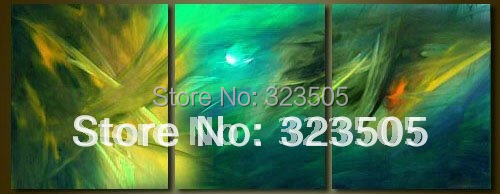 3 piece Abstract modern wall art home decoration handpainted landscape blue art oil painting set on canvas free shipping(China (Mainland))