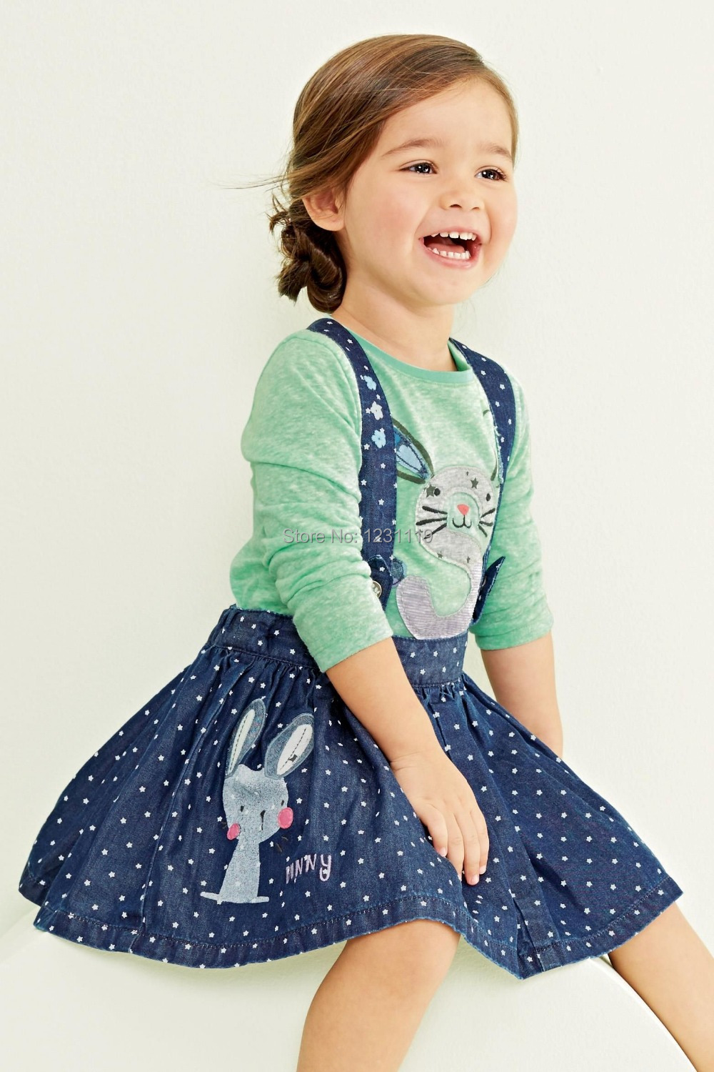store product Factory direct sale new  autumn baby girls dress child clothing set T shirt braces skirt