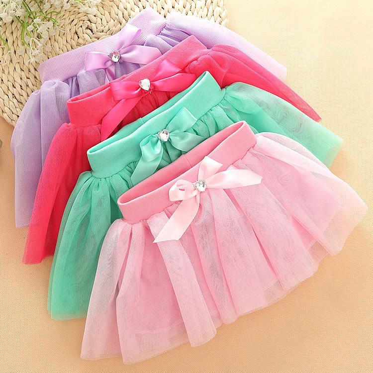 Saia Infantil Saia New Rushed Girls Kids Skirts Children's Net Veil Tutu Wild 2015 Summer Skirt Cake Bright Beads Wholesale Px07(China (Mainland))