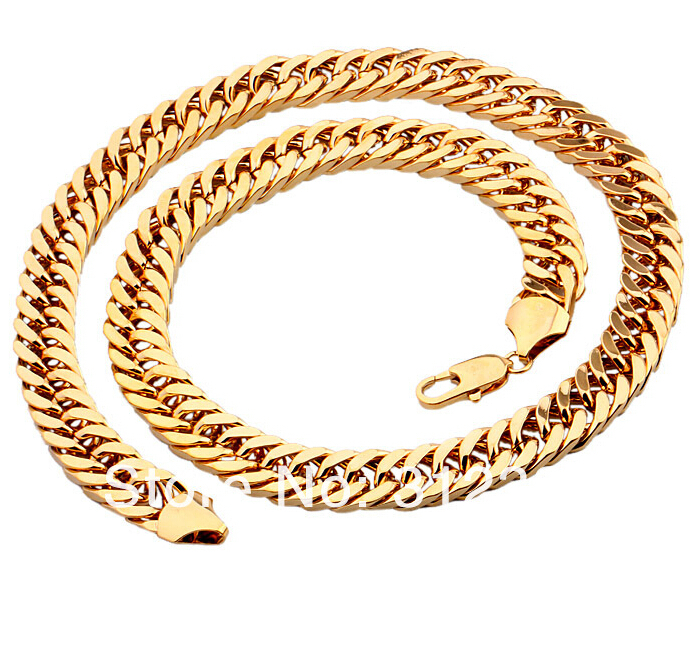 """Wholesale /retails Men's Necklace Thick Yellow Gold Filled Double Curb Chain mens jewewlry 24"""",10mm gold chain necklace(China (Mainland))"""