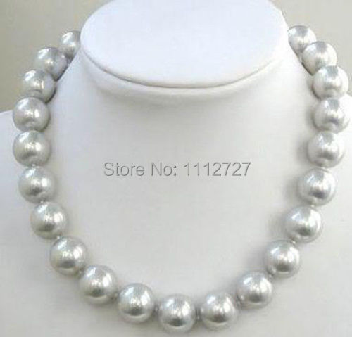 "new Long 24""10mm South Gray Sea Shell Pearl Necklace Round Beads Jewelry Jasper Natural Stone AAA Grade BV446 Wholesale Price(China (Mainland))"