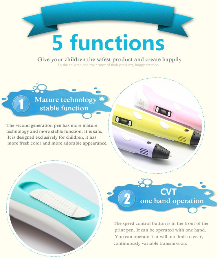 shipping via ePacket 3D printer pen dewang 2nd LED Display With variousABS/PLA for Arts creating 3d pens For Kids Drawing Tools