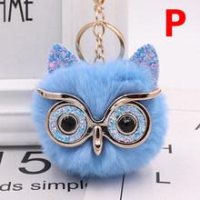 Chave Da Cadeia de charme Pompom Fofo Óculos Animais Coruja Fox Saco Ouvido Bola Keychain Bolsa Chaveiro Pingente de Carro Acessórios de Moda(China)