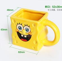 SpongeBob SquarePants packaging baked pudding mousse jelly cake with handle ceramic cup(China (Mainland))