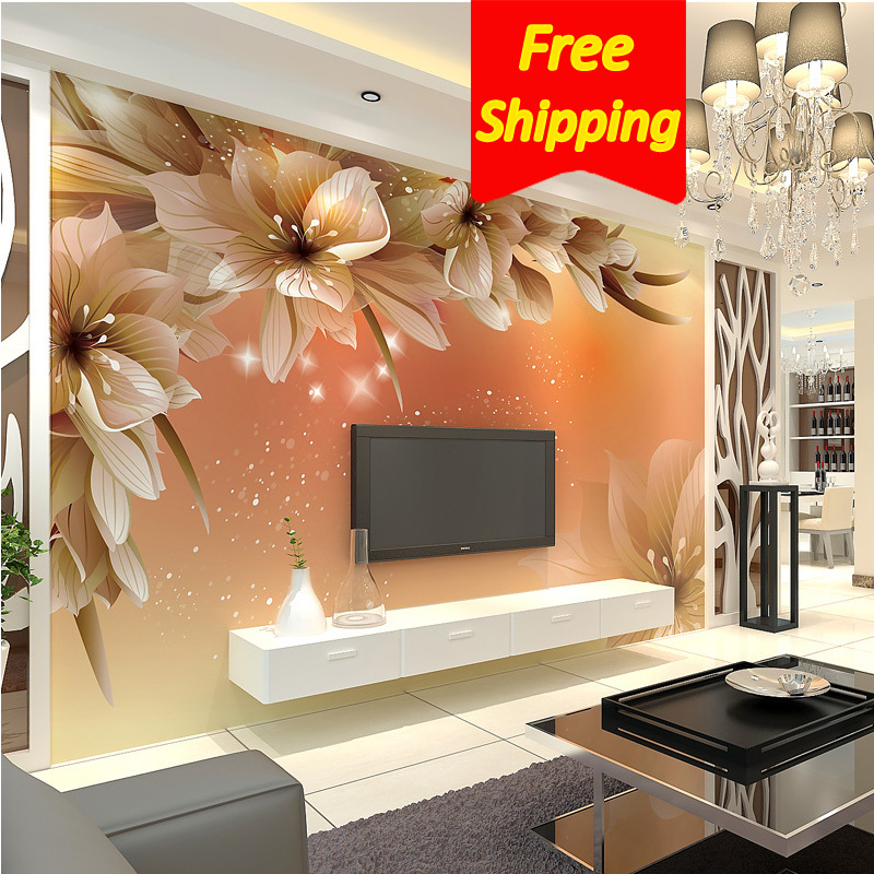 Photo Wall Paper Roll Tv Background Non-Woven 3d Wallpaper Living room bedroom Large Wall Murals 3d Floral Room(China (Mainland))