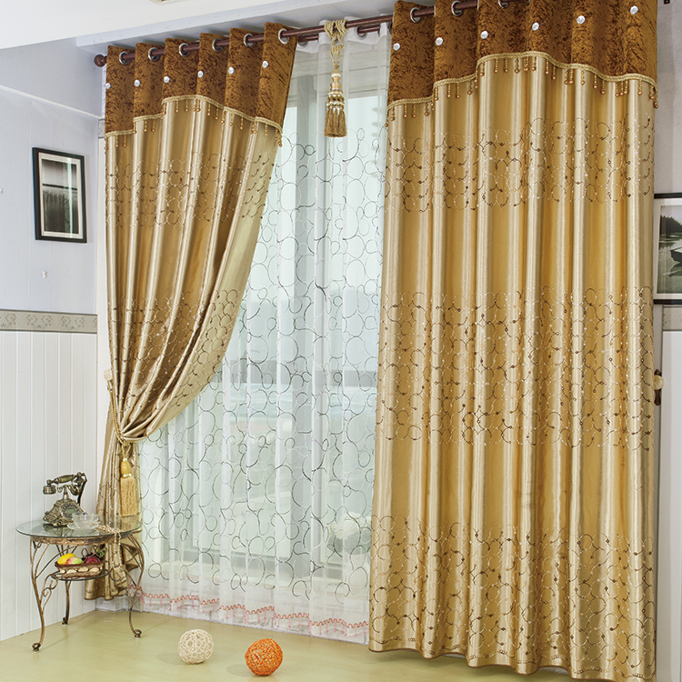 Gold Embroidered Gauze Window Full Blackout Curtains Finished High End Living Room Bedroom Bay