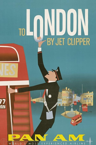 TO LONDON BY JET CLIPPER PAN AM AIRLINE WORLD Decorative Retro Vintage Kraft Poster DIY Wall Home Bar Posters Decor Gift(China (Mainland))